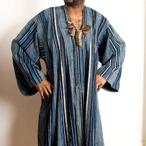 Vintage African INDIGO strip-weave mens prestige robe from Togo
