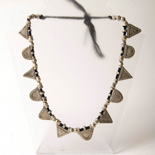 Ethiopian silver telsum necklace with silver beads