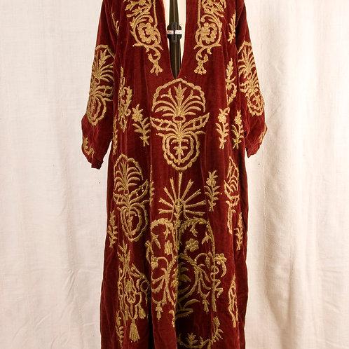 Antique Ottoman Turkish Bindalli dress silk velvet with 'basma' stitch