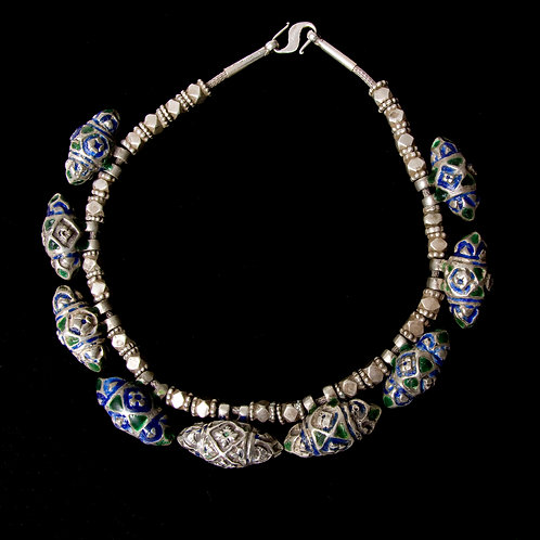 Exquisite Multan blue enamel and silver bead necklace