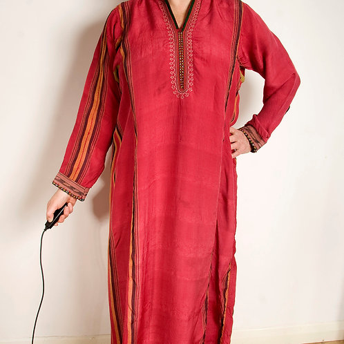 Vintage Tekke Turkmen kaftan dress - hand spun silk