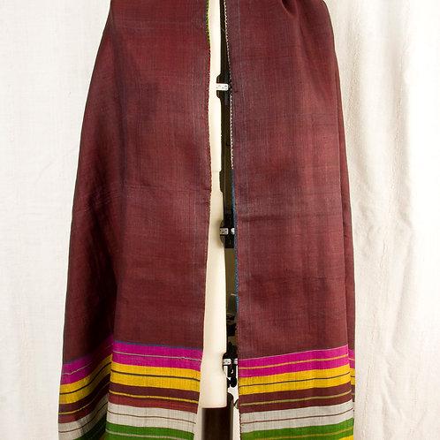 Vintage maroon silk Uzbek shawl