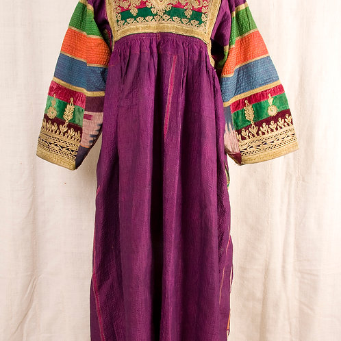 Vintage Afghan Pashtun purple silk dress with gold detail and embroidered pleats