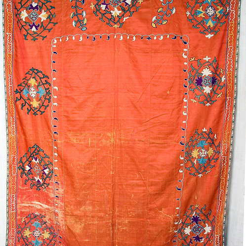Uzbek 19th Century orange silk wedding suzani, wall hanging - some wear