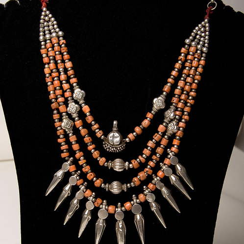 Beautiful old Ladakh coral and silver necklace. North India