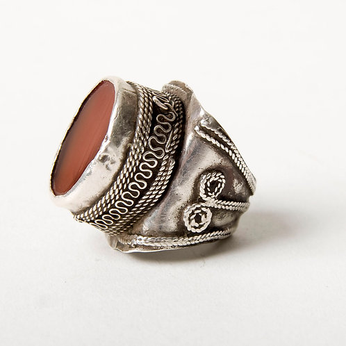 Antique Turkmen silver and carnelian ring US size 7/8 statement ring