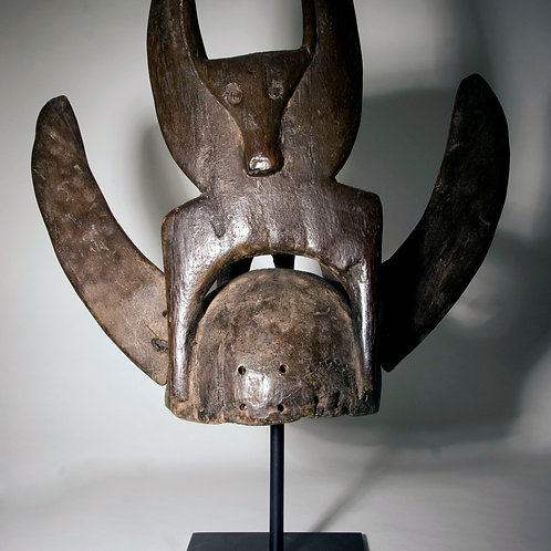A rare Tussian buffalo helmet mask from Burkino Faso