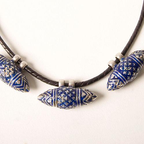 Three blue enamelled Multan beads