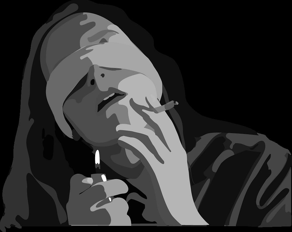 girl with blindfold on lighting cigarette