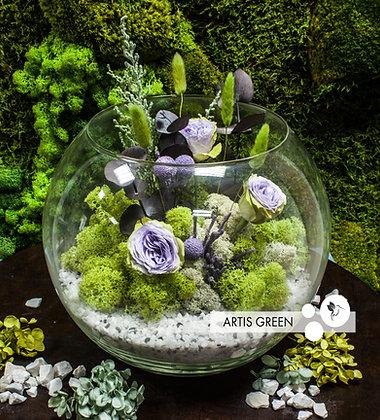 Большой флорариум со мхом и розами «Summer green»