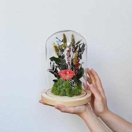 Стабилизированная роза в колбе «Коралл». Оригинальный подарок