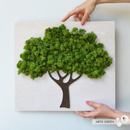 Картина - фигура дерева из стабилизированного мха