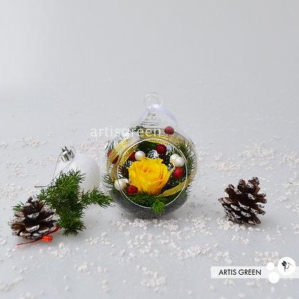 Новогодние ёлочные игрушки с вечной желтой розой «Вивиан». Свежесть от 3х лет!