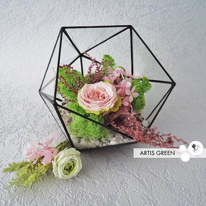 Флорариум со мхом и розой «Pink rose»