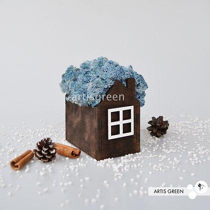 Корпоративный сувенир домик со мхом, голубой