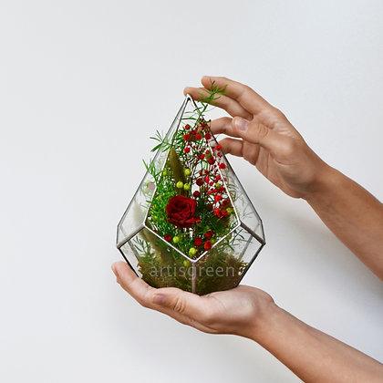 Композиция из стабилизированных растений и розы в стеклянном флорариуме, красная