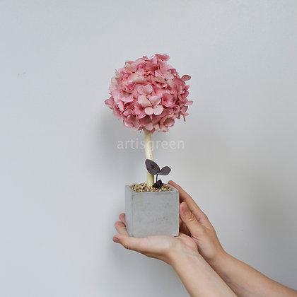Дерево из гортензии, топиарий розовый, 30 cm