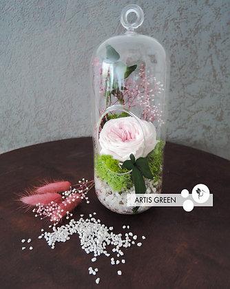 Роза в колбе «Pink&Green»