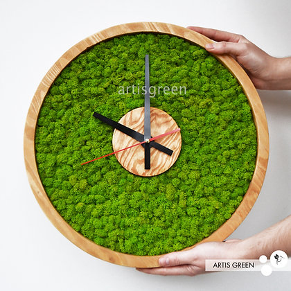Настенные часы со стабилизированным мхом. Эко часы МОХ круглые диаметр 40 см.