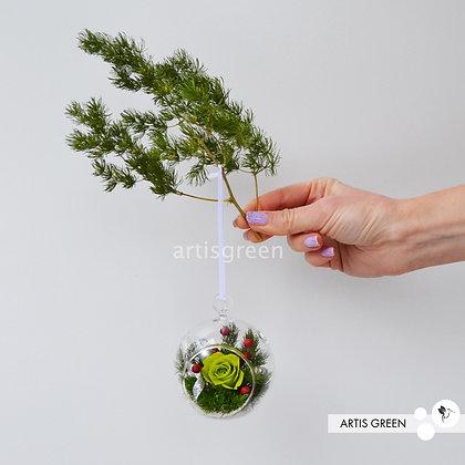 Новогодние ёлочные игрушки с вечной салатовой розой «Вивиан».Свежесть от 3 лет
