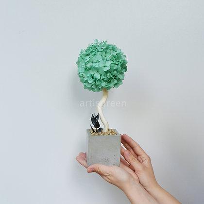 Дерево из гортензии, топиарий бирюзовый, 30 cm