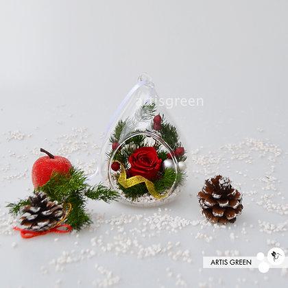 Новогодние ёлочные игрушки с вечной розой «Вивиан». Свежесть от 3х лет!