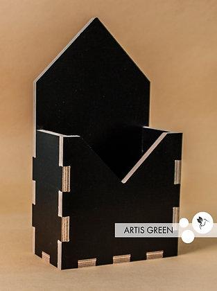 Горшочек из ламинированного дерева «Черный конвертик»