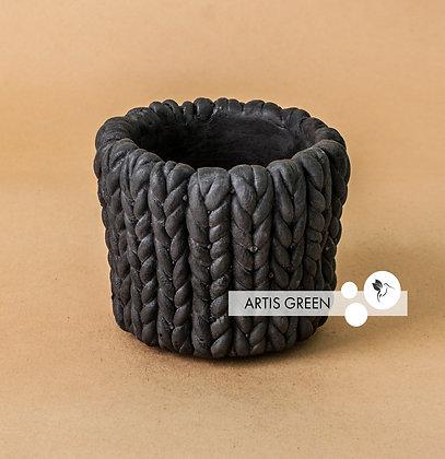 Бетонный горшок «Черная вязка»
