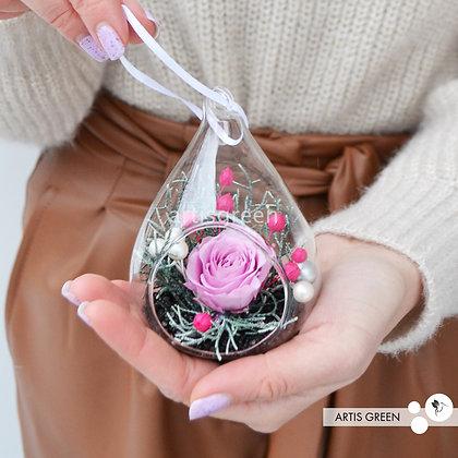 Новогодние ёлочные игрушки с вечной розой «Мини». Свежесть от 3х лет!