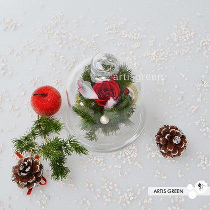 Новогодняя мини-колба с розой «Вивиан Рэд»