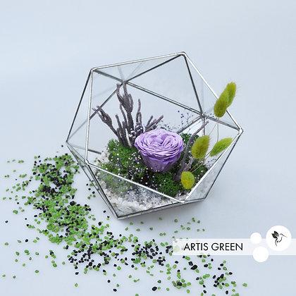 Флорариум со мхом и розой «Violet rose»