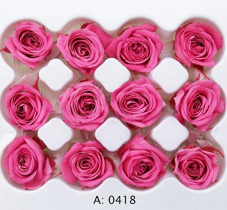 Роза розовая Ø2-3 см мини Pink, 12 шт/уп. А: 0418