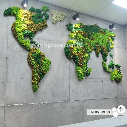 Интерьерная декоративная карта мира из стабилизированного мха