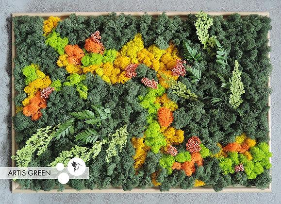 Картина из стабилизированного мха и растений «Orange&Green Big»