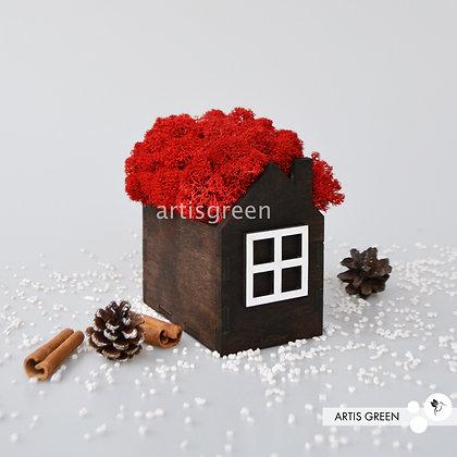 Корпоративный сувенир домик со мхом, красный