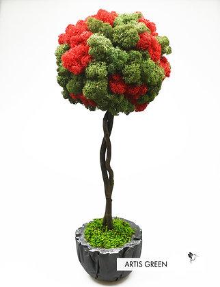 Двухцветное дерево со скандинавским мхом, топиарий 40 cm
