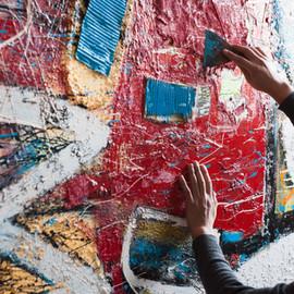 Künstler Malerei ein Wandgemälde