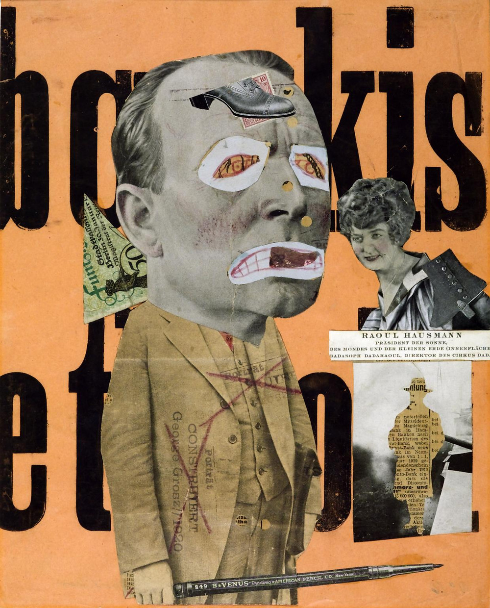 A collage of newspaper clippings on an orange background, featuring a man with his eyes and mouth clipped out