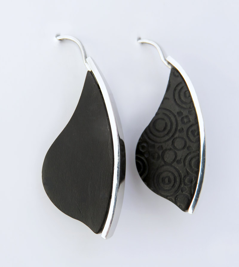 Ebony laser engraved earrings