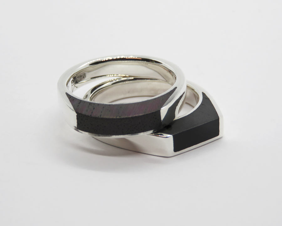 Silver and Timber Rings