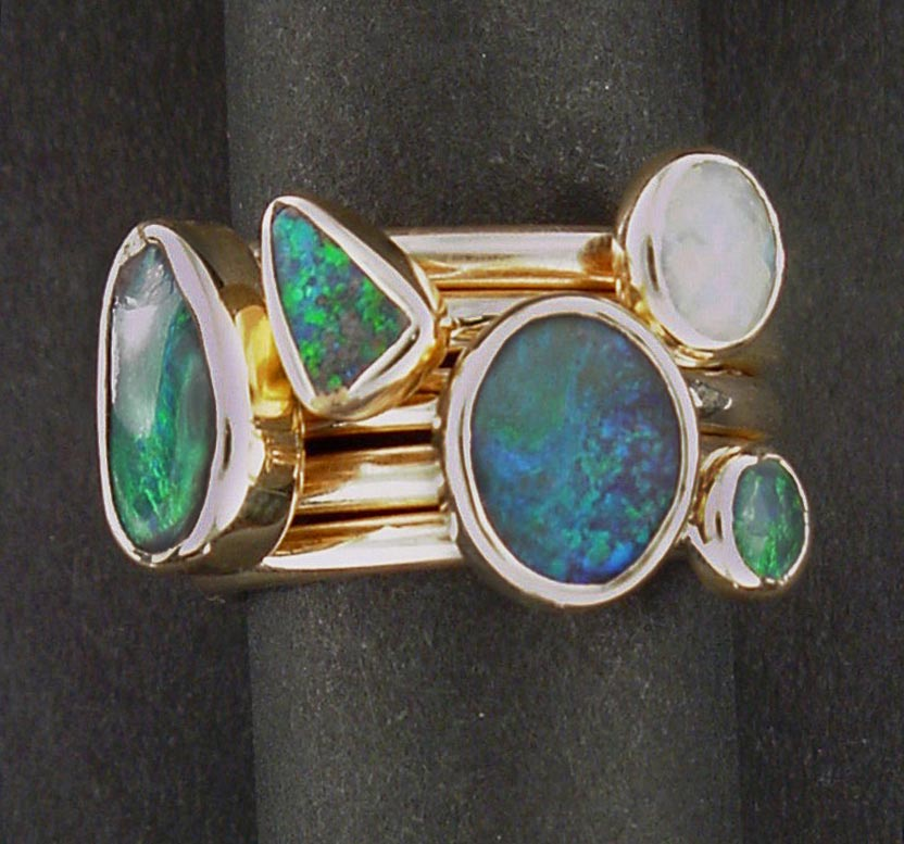 Boulder Opal gold stack rings