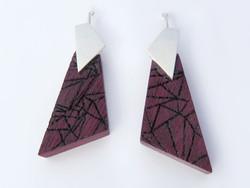 Purple heart geometric laser engraved ear hooks