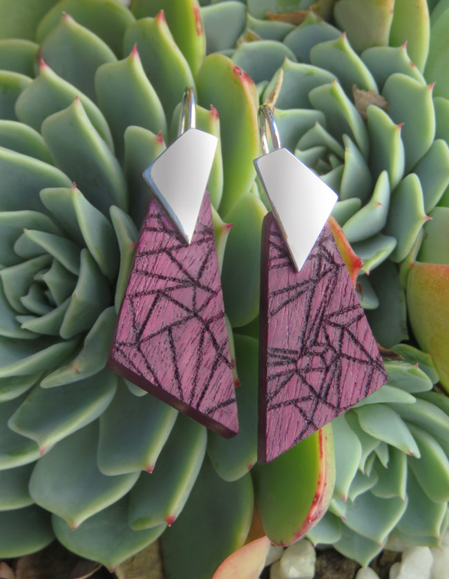 Purple heart geometric earrings