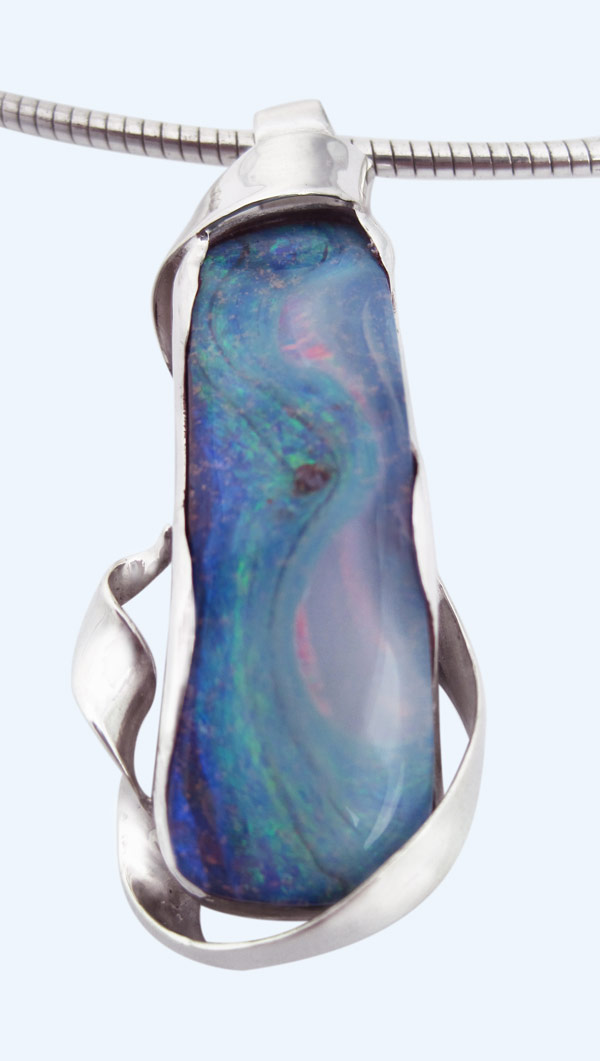 Boulder opal silver wrap pendant