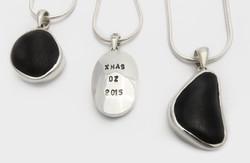 Beach pebble & silver pendants