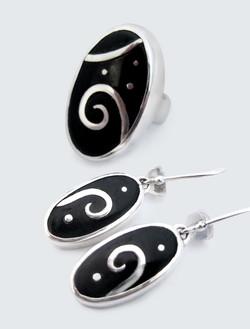 Dark Jade silver inlaid earrings & ring