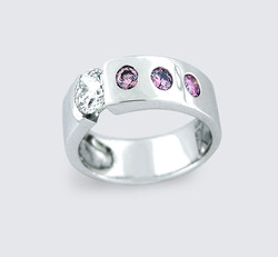Pink diamond gold engagement ring