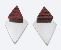 Pyramid rosewood silver studs