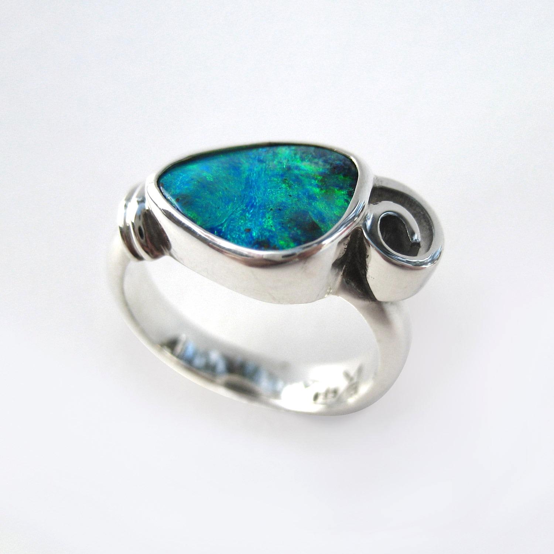 Opal swirl ring