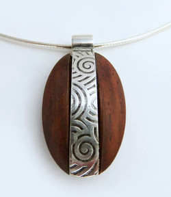 Rosewood pebble pendant